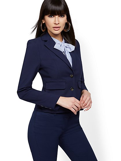 Topstitched Two-Button Jacket - All-Season Stretch - 7th Avenue - New York & Company