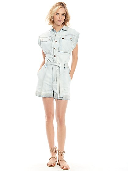 Trek Denim Romper in Cloud Wash - New York & Company