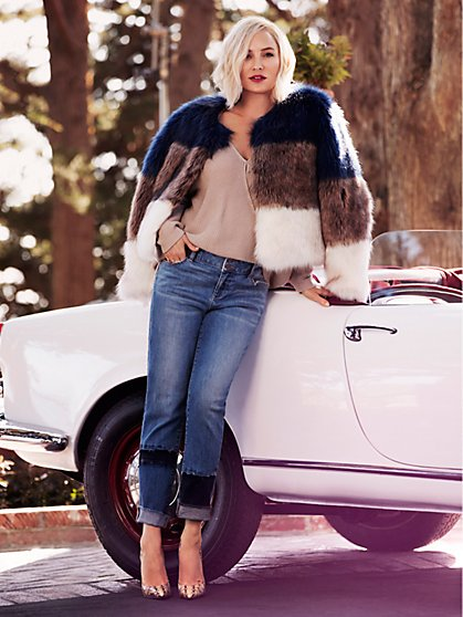 Tricolor Faux-Fur Crop Jacket - New York & Company