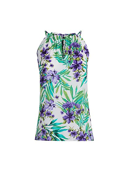 Tropical Floral Print Ruffled Neck Halter Top - New York & Company