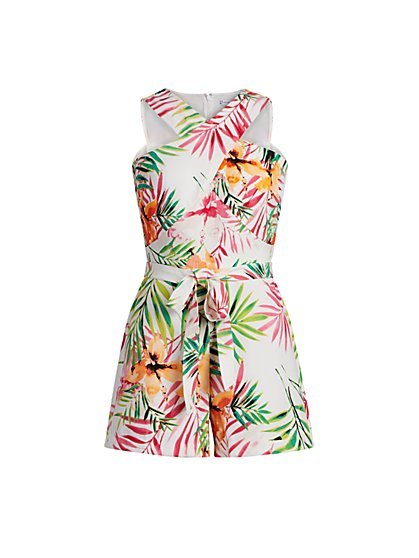 Tropical-Print Cross Front Romper - New York & Company
