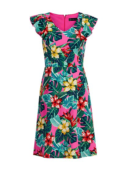Tropical-Print Fit & Flare Dress - New York & Company