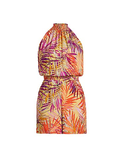 Tropical-Print Halter Romper - New York & Company