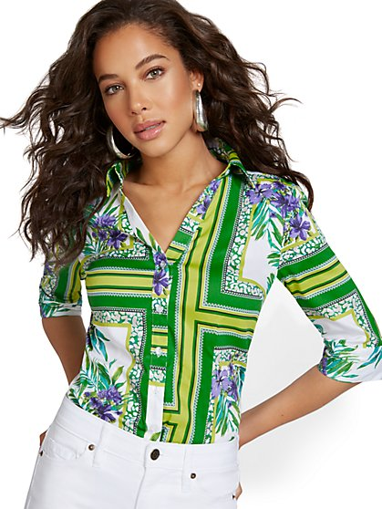 Tropical-Print Madison Shirt - Secret Snap - 7th Avenue - New York & Company