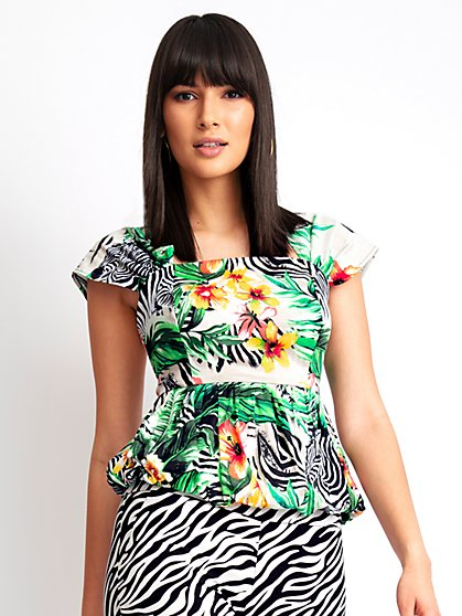 Tropical-Print Peplum Top - New York & Company
