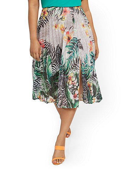 Tropical-Print Pleated Skirt - New York & Company