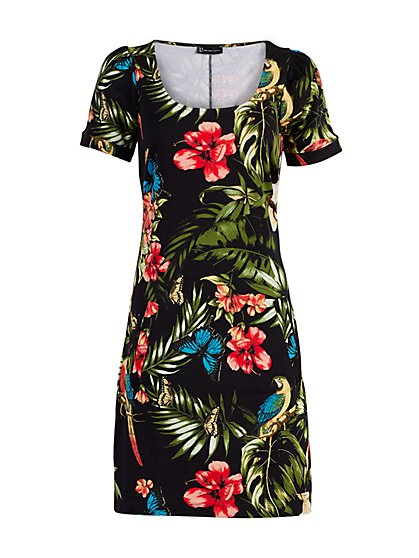 Tropical-Print Puff-Sleeve Cotton Shift Dress - New York & Company
