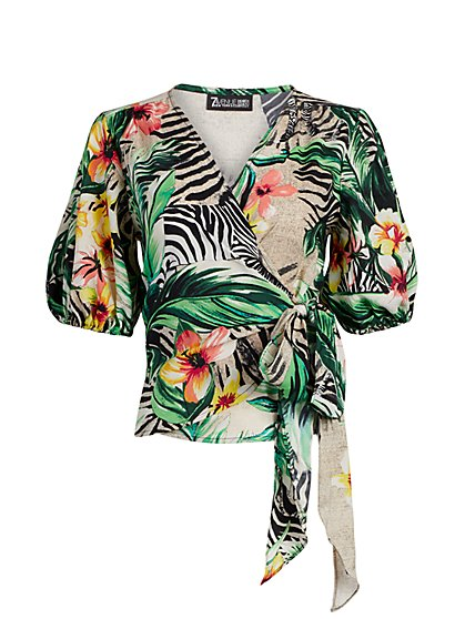 Tropical-Print Tie-Waist Top - New York & Company