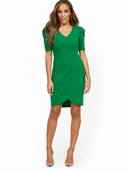 Tulip-Hem V-Neck Sheath Dress - Magic Crepe® - New York & Company