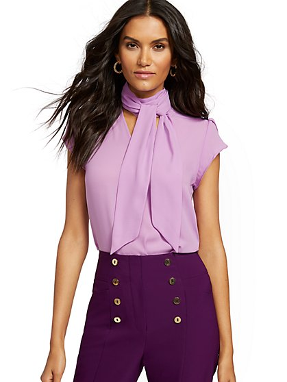 Tulip-Sleeve Bow Blouse - 7th Avenue - New York & Company