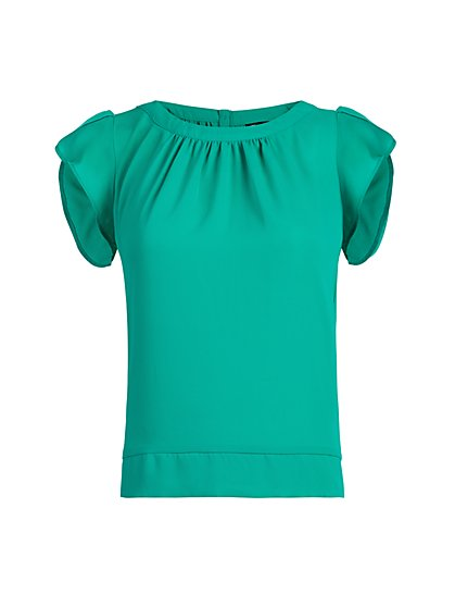 Tulip-Sleeve Button-Back Blouse - 7th Avenue - New York & Company