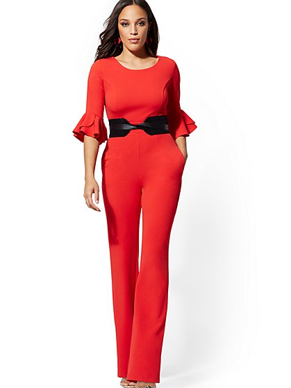 Tulip-Sleeve Jumpsuit - Magic Crepe - New York & Company