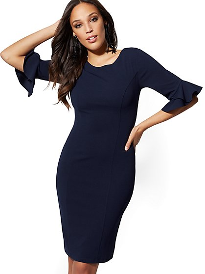 Tulip-Sleeve Sheath Dress - Magic Crepe - New York & Company