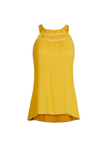 Tulip Yellow Shirred Halter Top - New York & Company
