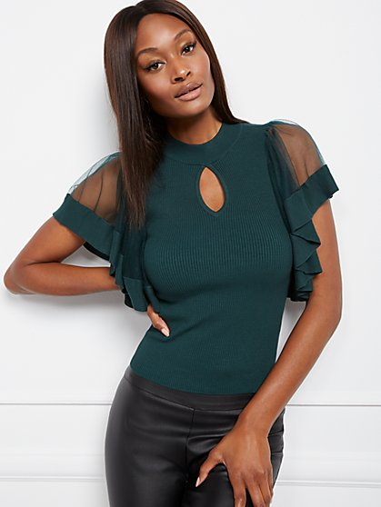 Tulle-Sleeve Mock-Neck Top - 7th Avenue - New York & Company