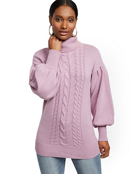Turtleneck Cable-Knit Tunic Sweater - New York & Company