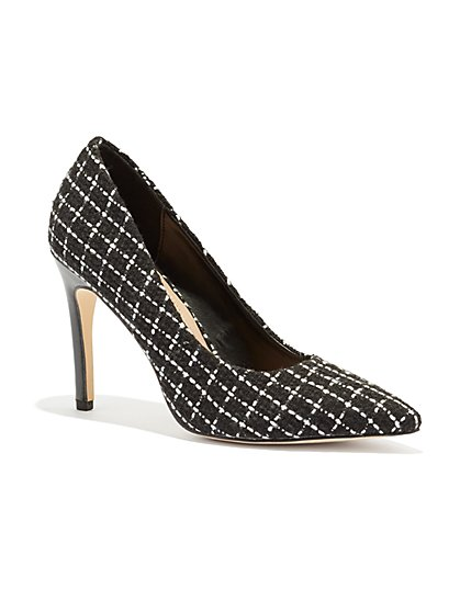 Tweed Plaid Pointed-Toe Pump - New York & Company