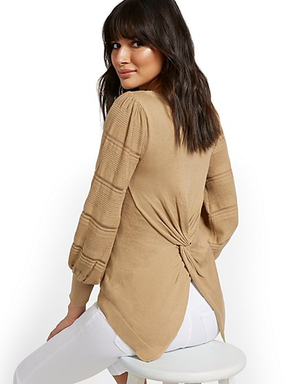 Twist-Back Tunic Sweater - New York & Company