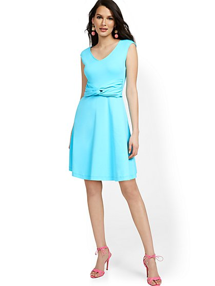 Twist-Front Fit and Flare Dress - City Knits - New York & Company