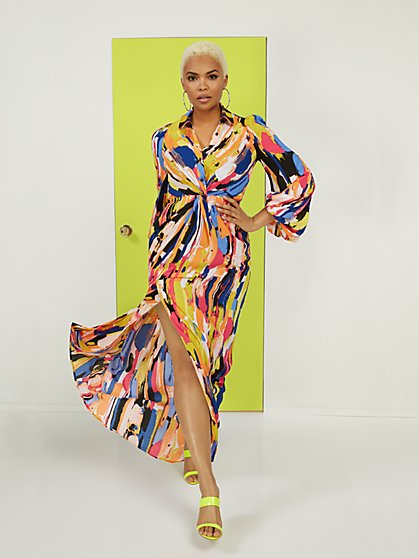 Twist-Front Maxi Shirtdress - New York & Company