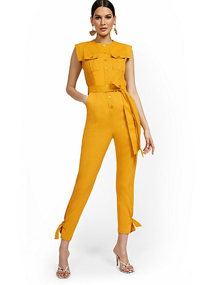 Two-Pocket Ankle-Tie Utility Jumpsuit - New York & Company