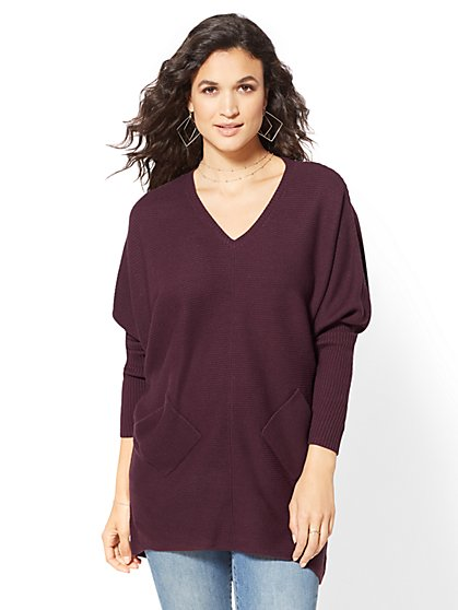 Two-Pocket Dolman Tunic Sweater - New York & Company