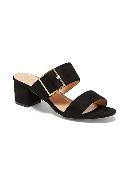 Two-Strap Buckle Heel Sandal - New York & Company