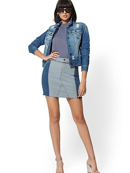 Two-Tone Denim Skirt - Strong Blue - New York & Company