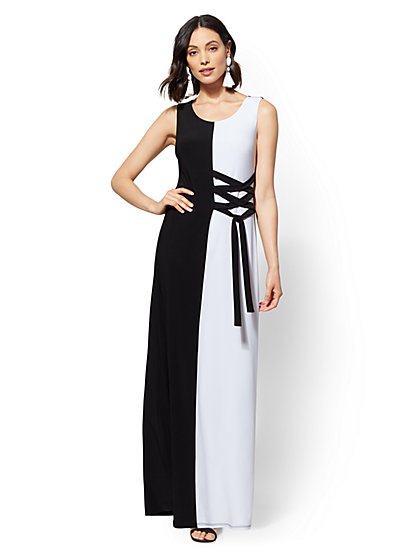 Two-Tone Lace-Up Maxi Dress - New York & Company