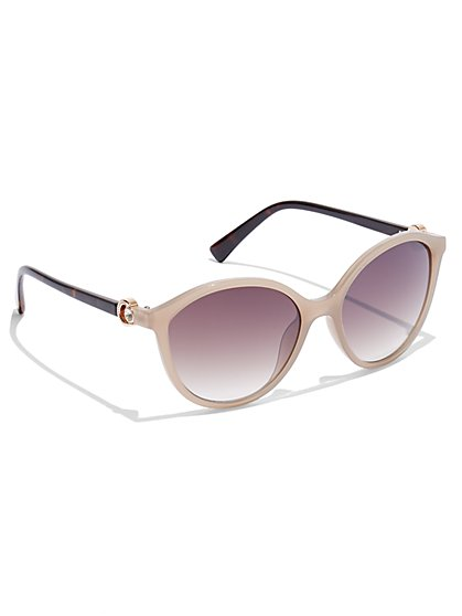 Two-Tone Round Sunglasses - New York & Company