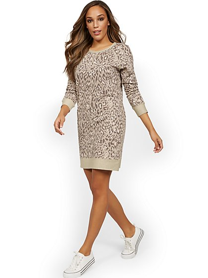 Two-Toned Reversible Leopard-Print Sweatshirt Dress - New York & Company