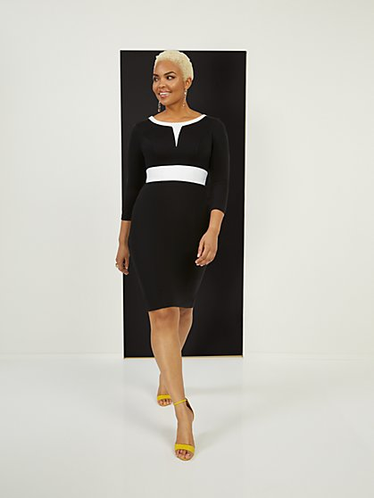 Two-Toned Sheath Ponte Dress - Superflex - New York & Company