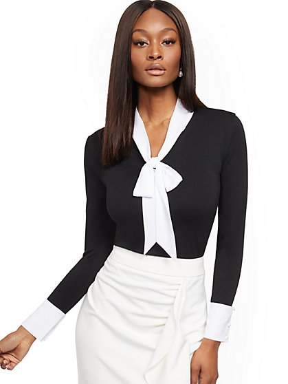 Twofer Bow Knit Top - New York & Company