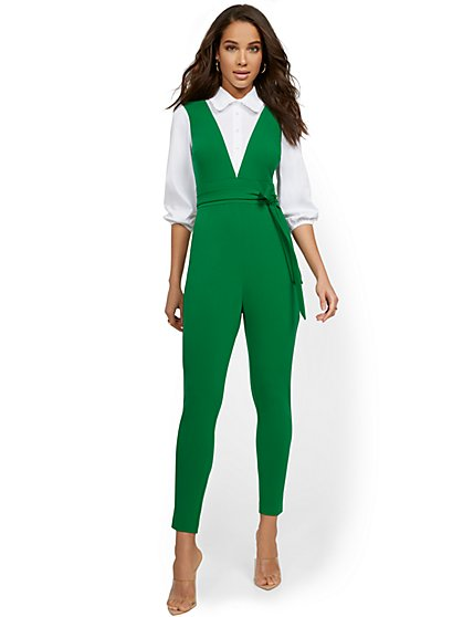 Twofer Jumpsuit With Poplin Shirt - New York & Company