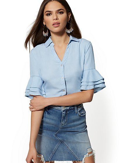 Ultra-Soft Chambray Blouse - Soho Soft Blouse - New York & Company