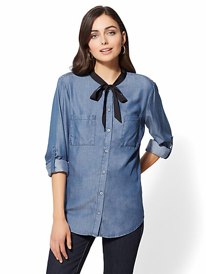 Ultra-Soft Chambray Bow Shirt - New York & Company