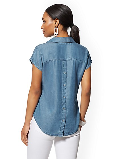 c35e261d ... Ultra-Soft Chambray Button-Back Top - Indigo - Soho Soft Shirt - New