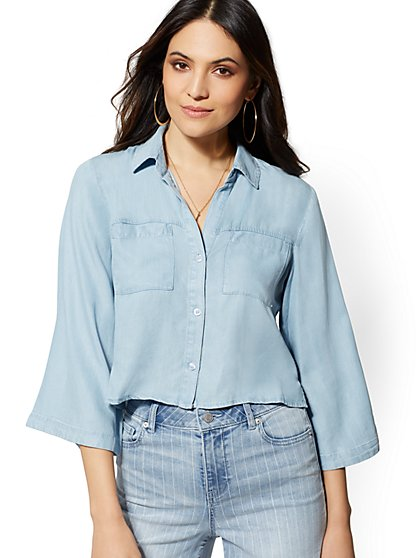 Ultra-Soft Chambray Crop Top Shirt - New York & Company