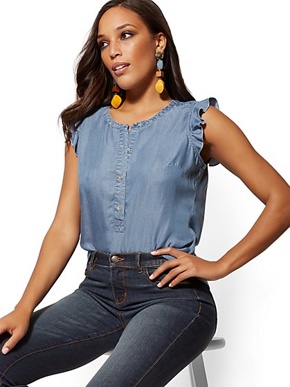 Ultra-Soft Chambray Flutter-Sleeve Top - Soho Soft Shirt - New York & Company