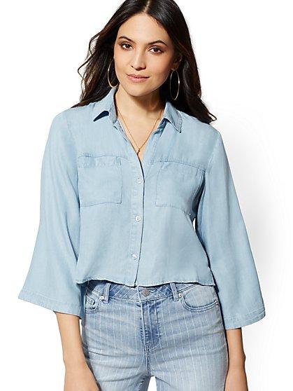 ee56e9be899087 Ultra-Soft Chambray Hi-Lo Shirt - New York   Company ...