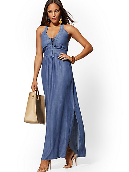 aa4d3f66d387d Ultra-Soft Chambray Lace-Up Halter Maxi Dress - New York & Company ...
