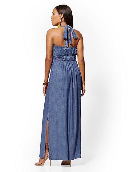14e4b50896 ... Ultra-Soft Chambray Lace-Up Halter Maxi Dress - New York & Company