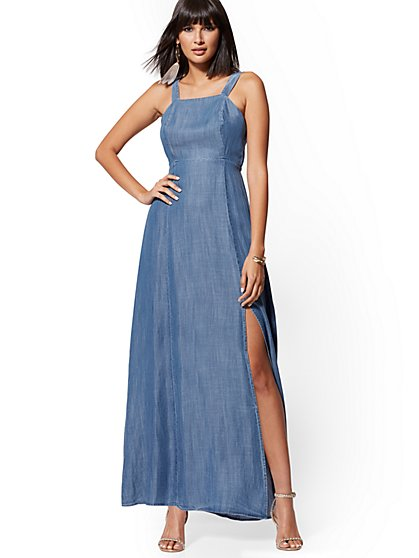 Ultra-Soft Chambray Maxi Dress - Heart Breaker Blue - New York & Company