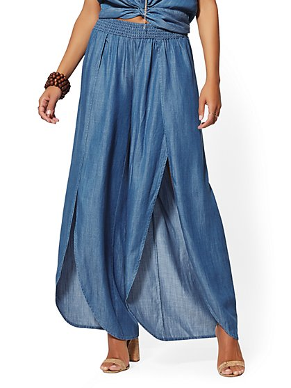 Ultra-Soft Chambray Palazzo Pant - Indigo - New York & Company