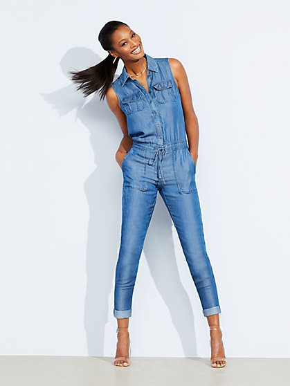 Ultra-Soft Chambray Sleeveless Jumpsuit - New York & Company