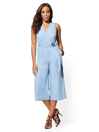 Ultra-Soft Chambray V-Neck Wrap Jumpsuit - New York & Company