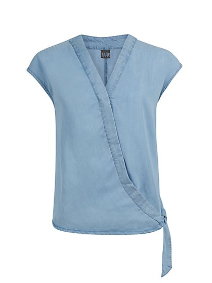 Ultra-Soft Chambray Wrap Shirt - New York & Company