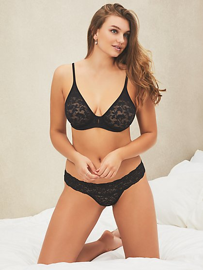 Unlined Lace Plunge Bra - New York & Company