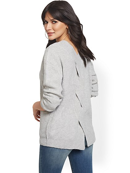V-Neck Back-Cable Sparkle Sweater - New York & Company
