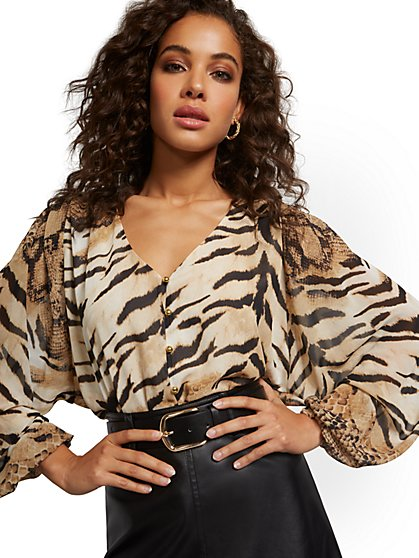 V-Neck Balloon-Sleeve Animal Print Blouse - New York & Company